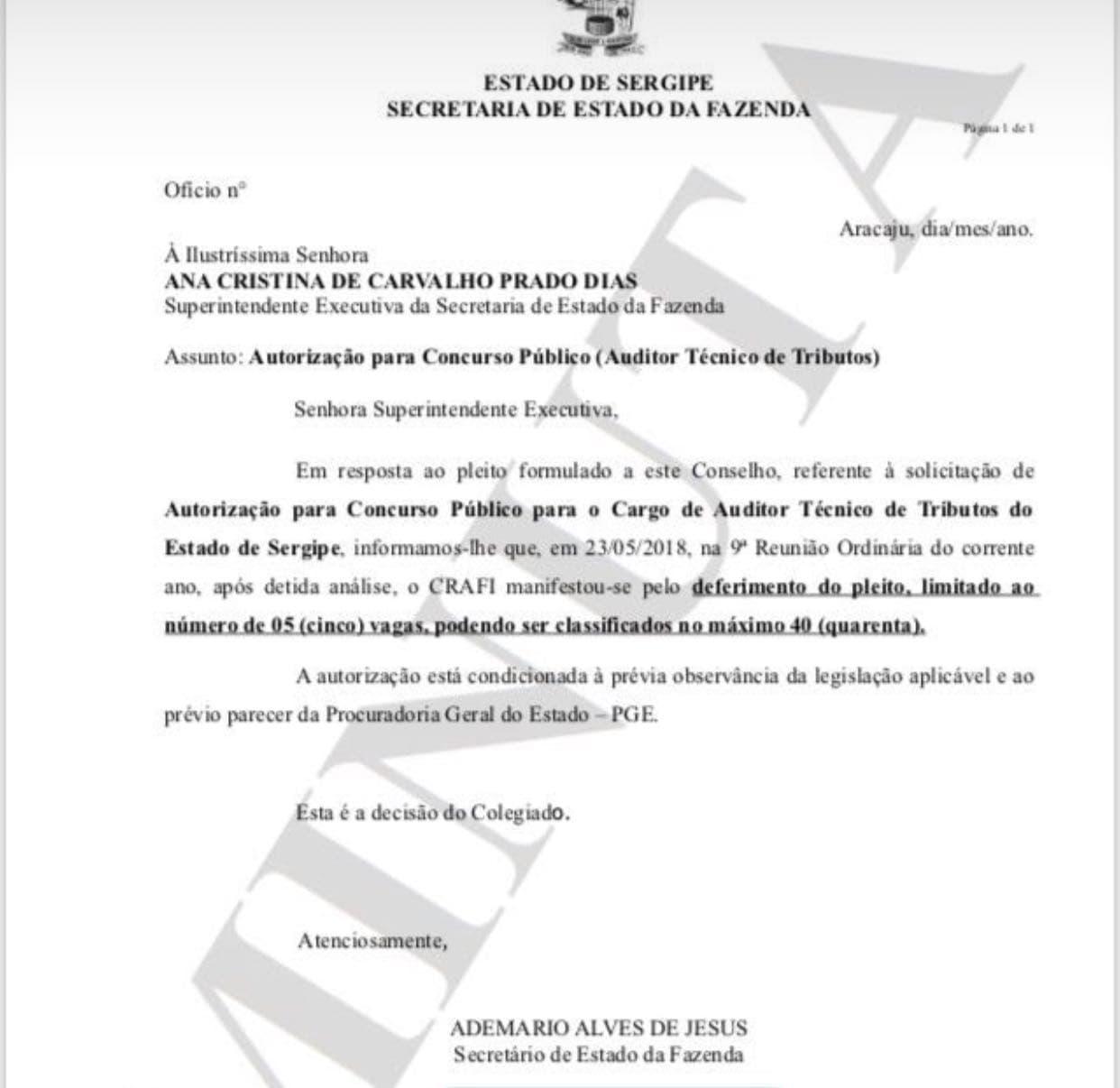 utorização Concurso Sefaz SE