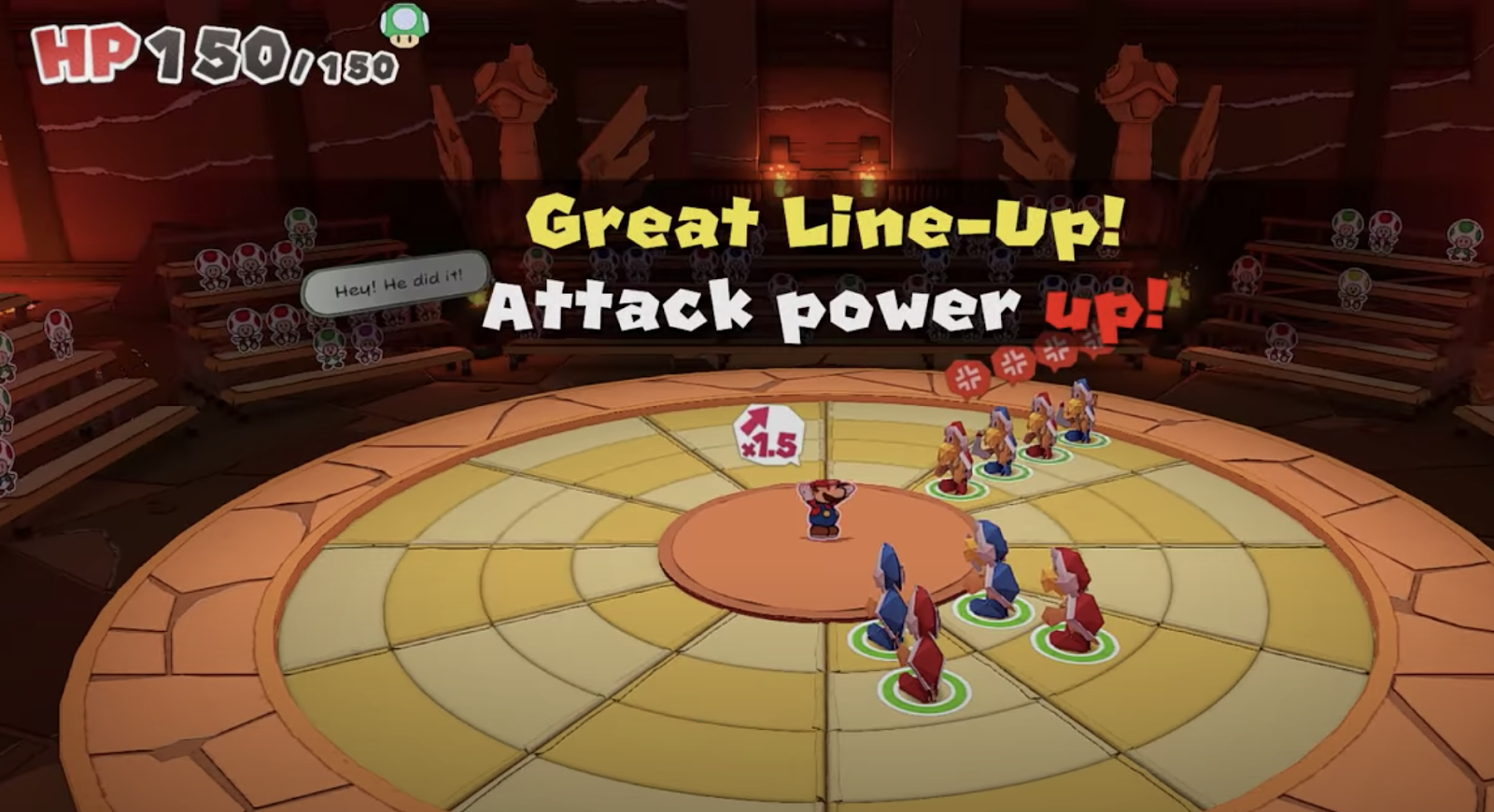 "Mario stands in the middle of a dartboard-like area containing concentric circles. Koopas stand in various places on the circle. Large text reads ""Great Line-Up! Attack power up!"" A large HP meter in the upper left corner reads 150/150."