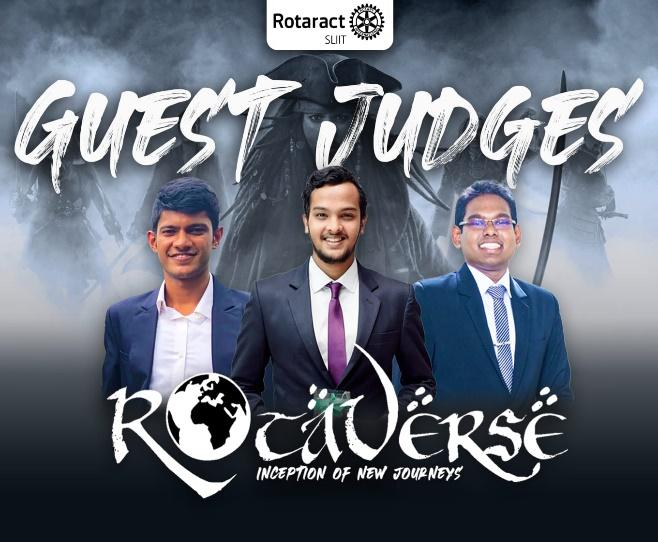"""May be an image of 3 people and text that says """"Rotaract SLIIT GUEST JUDGES INCEPTION OF NEW ROCQVERsE JOURNEYS"""""""