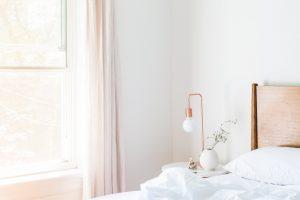 A well-lit bedroom.