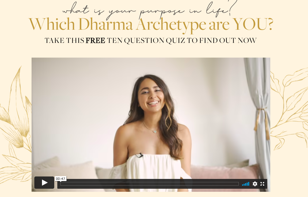 Which Dharma Archetype are quiz  landing page with video