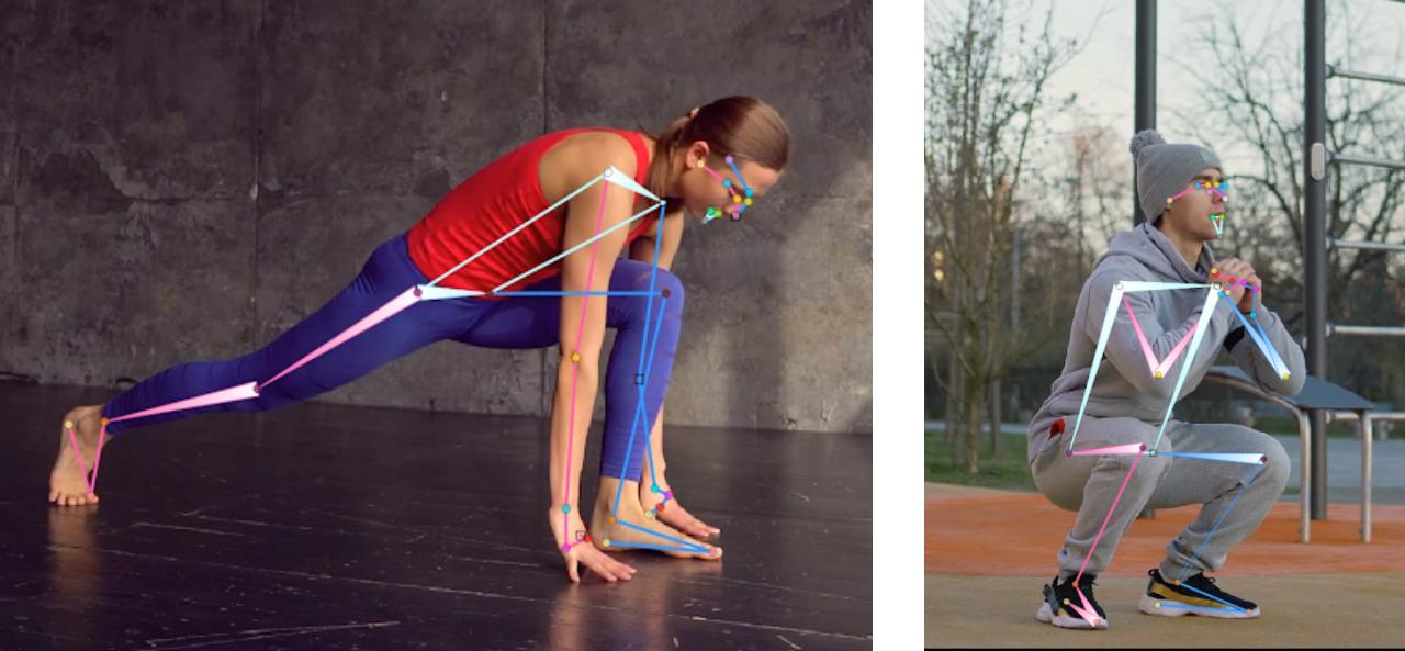 Depth order annotation: the wider edge corner denotes the corner closer to the camera (e.g. the person's right shoulder is closer to camera than left shoulder on both examples)