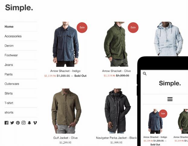 skjermbilde av shopify nettbutikk klær