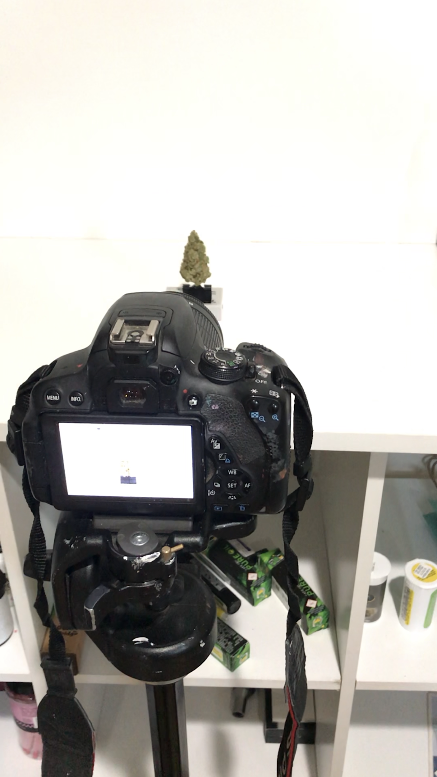 DIY, at home cannabis photography studio. Camera set on tripod, aimed at marijuana positioned on a white backdrop.