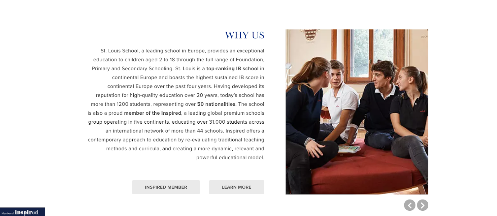 St. Louis school Why Us page