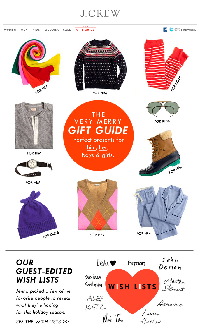 The holiday gift guide can be one of the early components of your seasonal campaign⁠⁠—sent even before Thanksgiving⁠. The website link to it can appear at the footer of all your emails until Christmas to maximize its promotional effect.