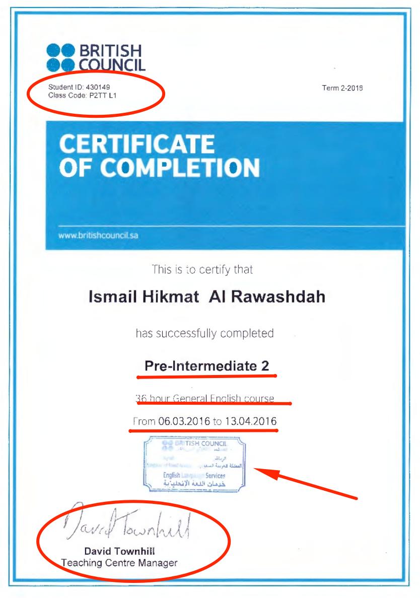British Council certificate design
