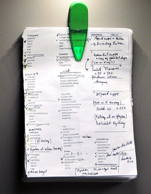 Grocery list example traditional shopper