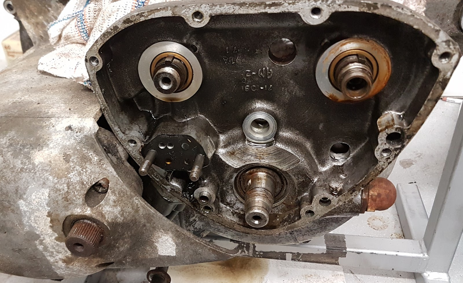 Crankshaft pinion removed from the Triumph Bonneville.