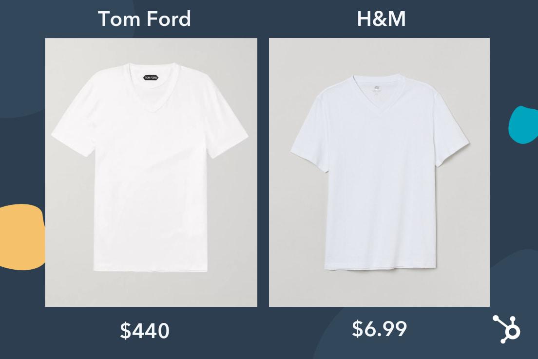Prestige pricing white shirts