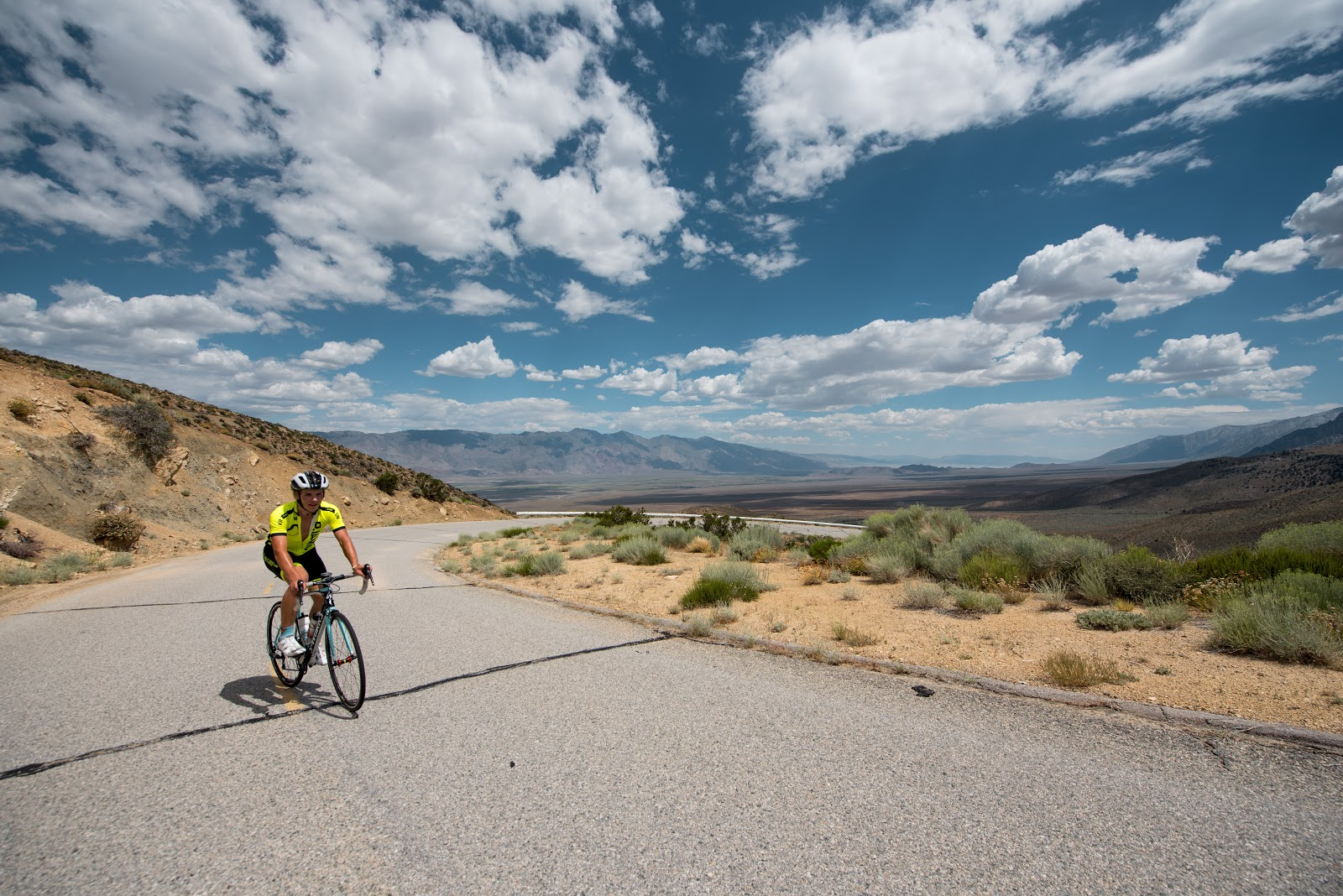 Cyclist nearing the top of Onion Valley Road