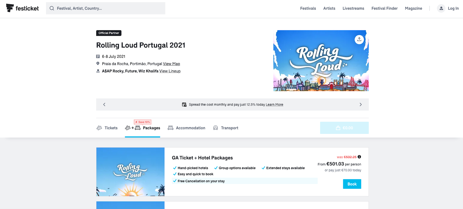 festival booking site offering advanced UX functionalities
