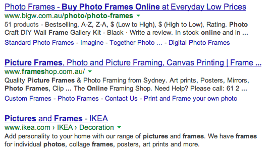 buy photo frames online serp results