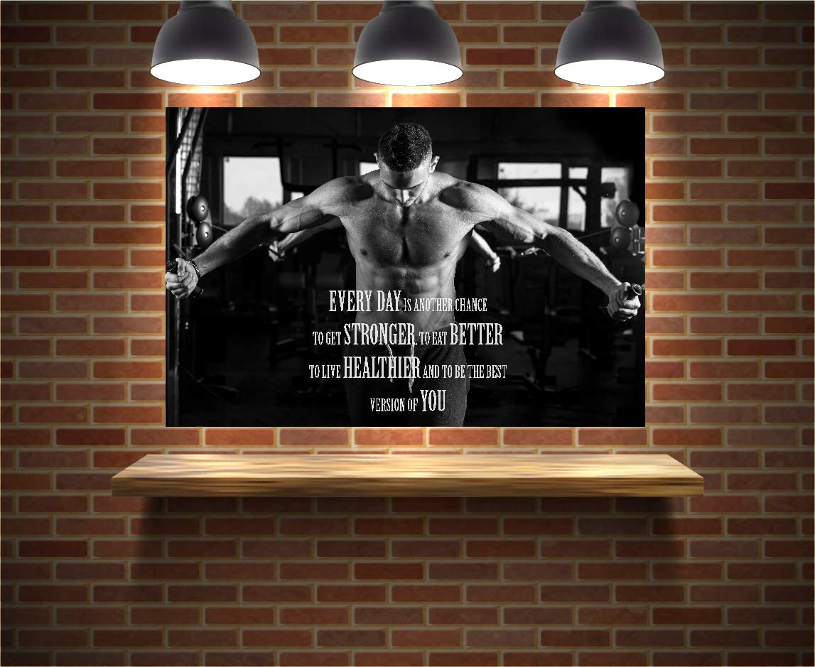 The Motivational Muscle Gym Poster by EzPosterPrints is a perfect option if you're looking for wall-sized or big-sized inexpensive gym wall posters to add some color and them to your home gym walls