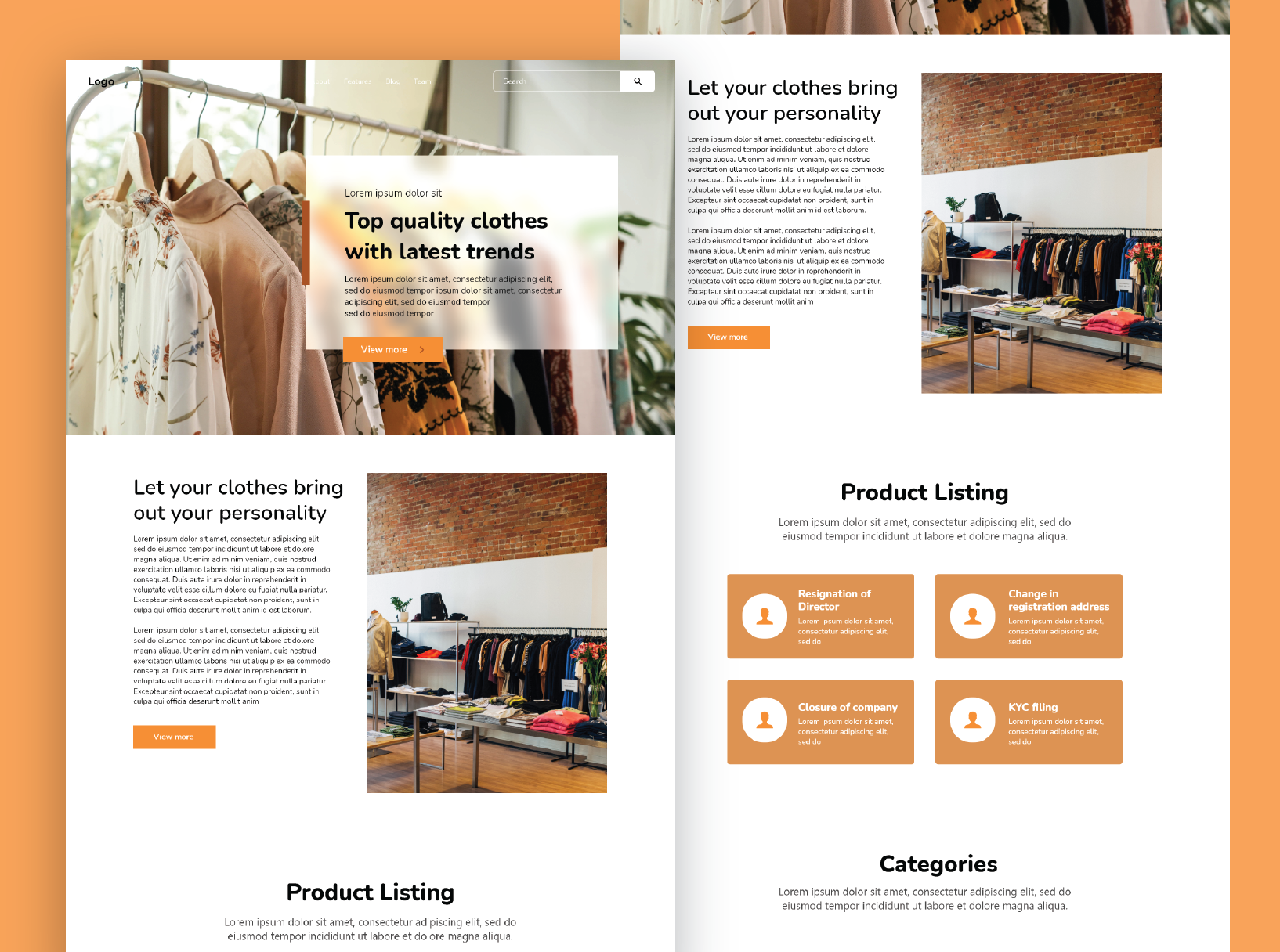 An example of a homepage created by Workik for branding sites.