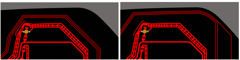 Sliding traces toward the edge of a printed electronics board outline. The first picture depicts a traditional approach. The second picture depicts when traces are slid towards the curved edge of the layout area.