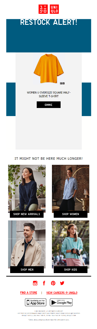 This email from UNIQLO is personalized based on a product the subscriber viewed while it was out of stock.