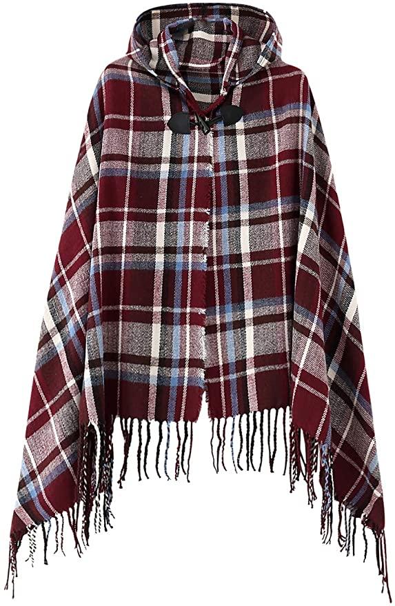 Vintage Plaid Knitted Tassel Shawl