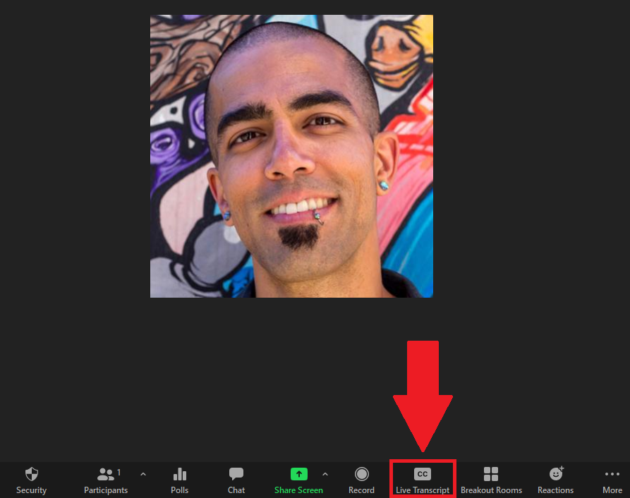 live transcript button highlighted