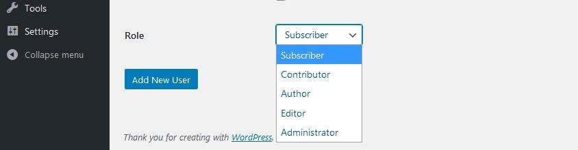WordPress default user roles dropdown