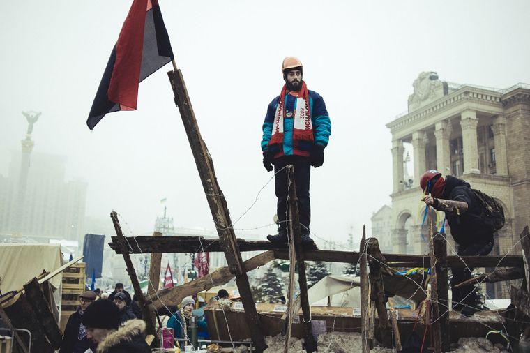 Сергей Нигоян на баррикадах на Майдане Независимости, 12 декабря 2013 года