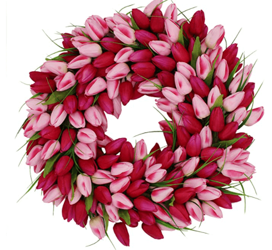 spring wreath tulips