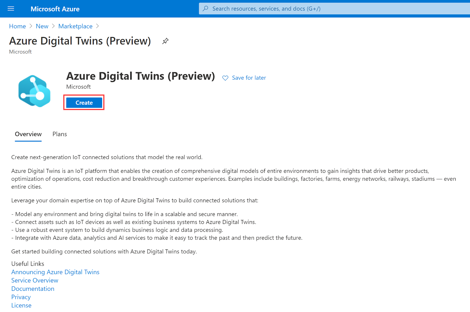 Selecting 'Create' from the Azure Digital Twins service page