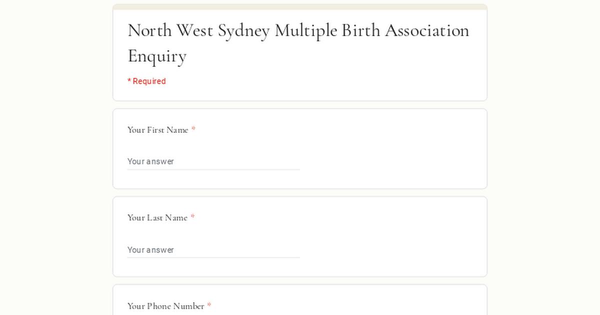North West Sydney Multiple Birth Association Enquiry