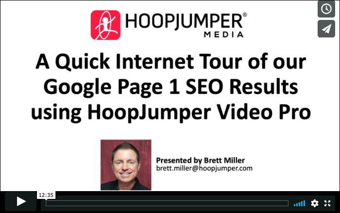 A Quick Internet Tour of our Google Page 1 SEO Results for HoopJumper Video Pro