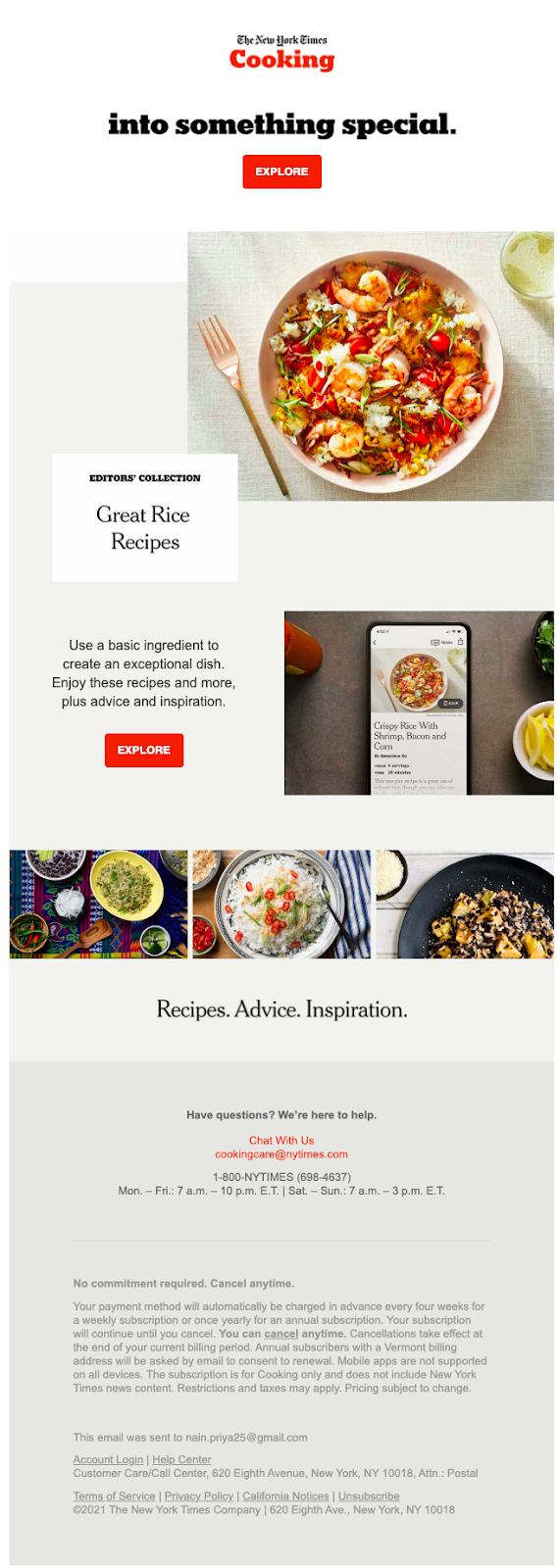 Email newsletter design of New York Times