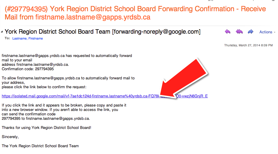 Forward YRDSB Google Apps Email to Outlook Mail