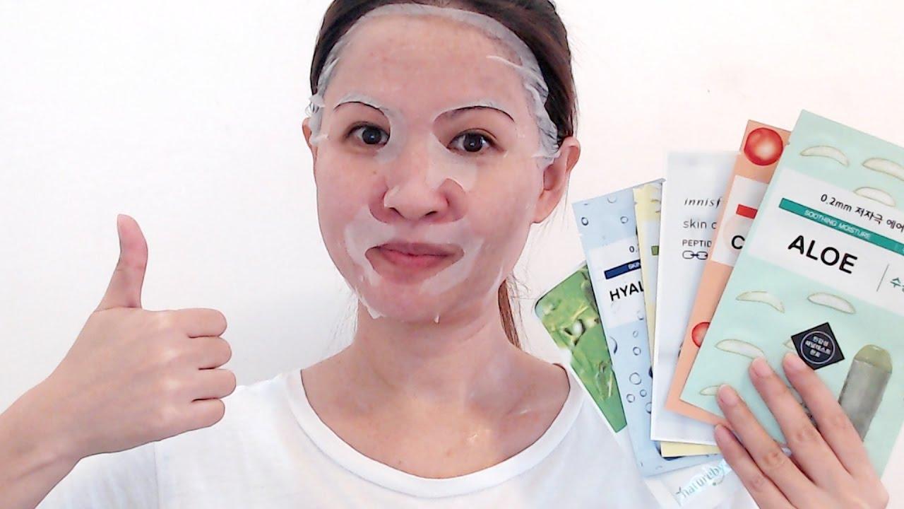 Korean Sheet Masks For Acne Prone   Oily   Sensitive   Aging Skin - YouTube