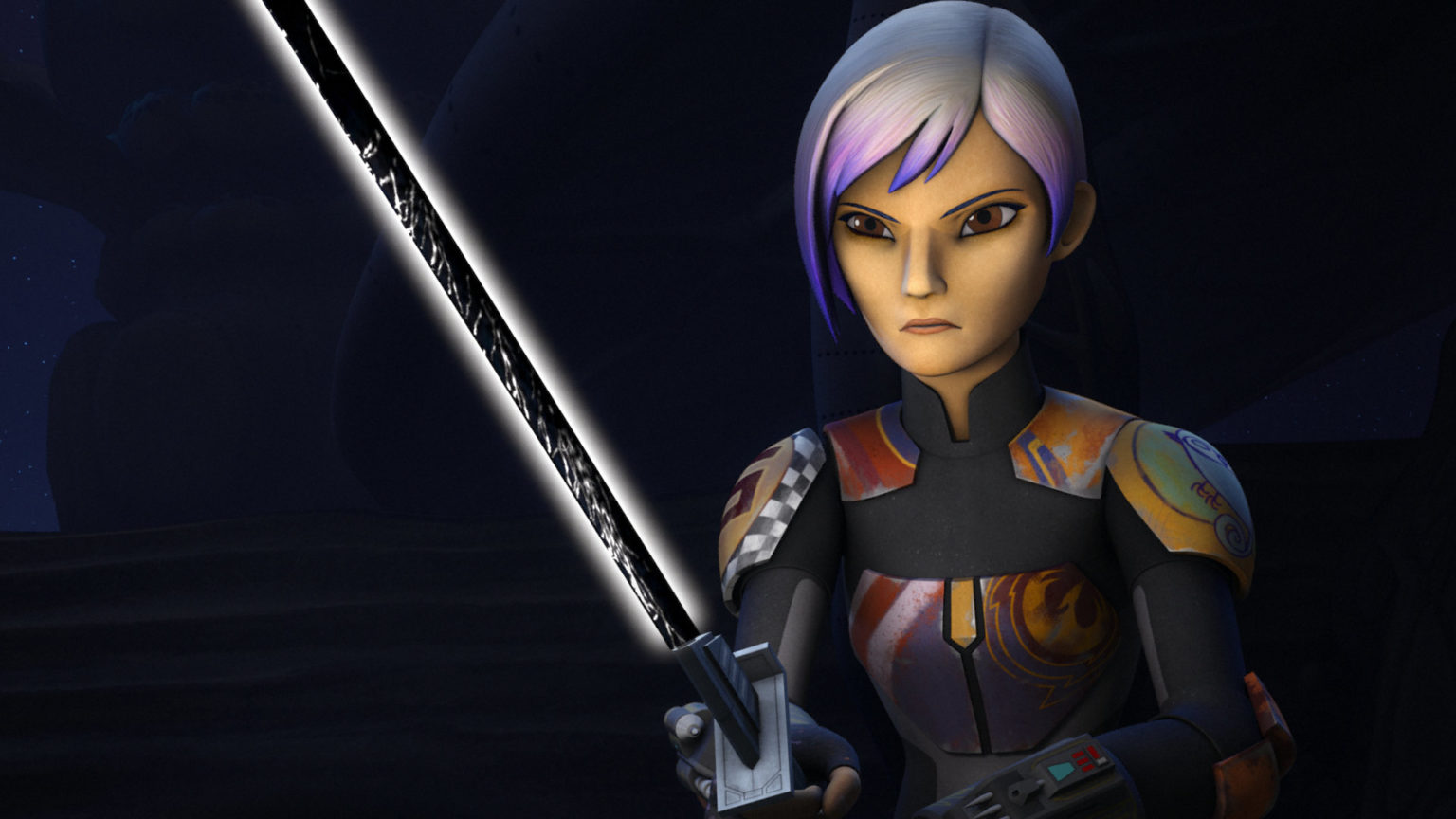 Sabine Wren is holding the darksaber.