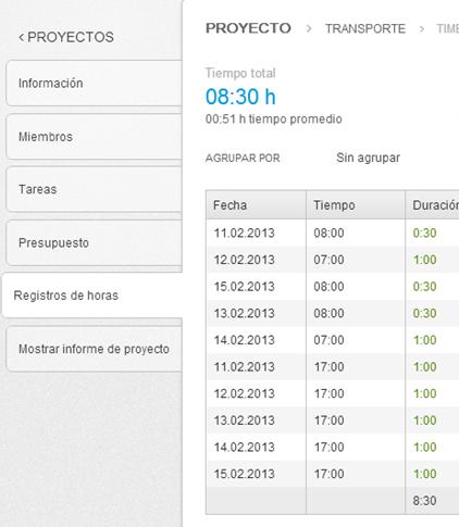 Registros de tiempo de proyectos en primaERP TIME TRACKING