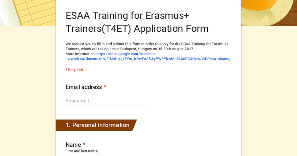 ESAA Training for Erasmus+ Trainers(T4ET) Application Form on application to be my boyfriend, application error, application meaning in science, application database diagram, application service provider, application to join a club, application approved, application for rental, application to rent california, application clip art, application trial, application cartoon, application template, application for scholarship sample, application submitted, application for employment, application in spanish, application to join motorcycle club, application insights, application to date my son,