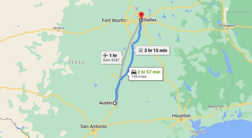Austin to Dallas moving map