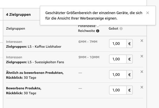 Amazon Zielgruppen-Reichweite