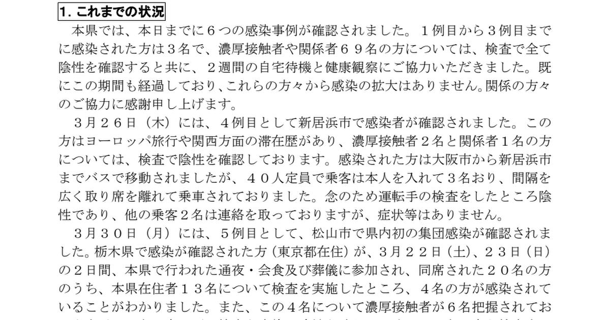 新型 コロナ ウイルス 愛媛 県
