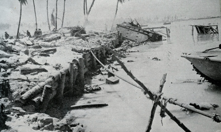 Seawall after Tarawa invasion