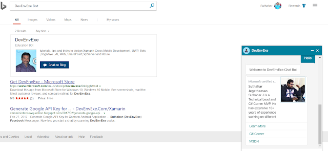 Building Chat Bots with Bing search results using Bot Framework