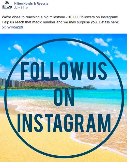 Hilton Hotels Instagram and Facebook