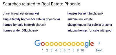 "Google's Searches Related To for ""Real Estate Phoenix"""