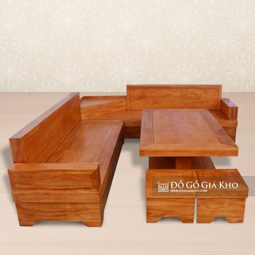 Bàn ghế gỗ gõ kiểu góc trái - BG055