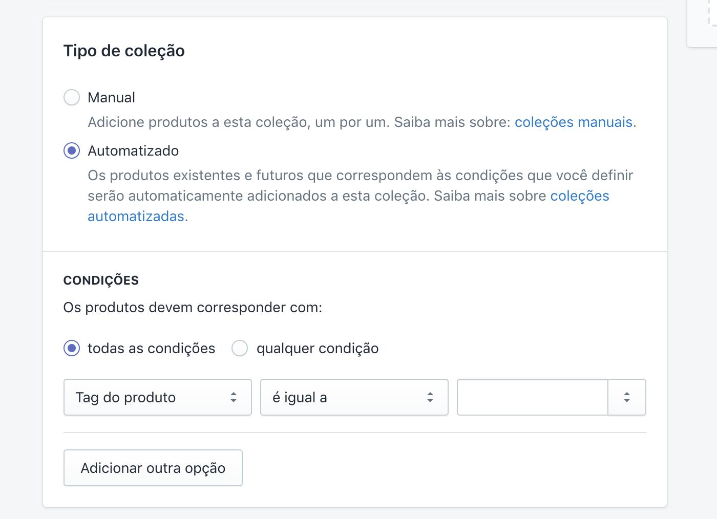 Página de tags e coleções no Admin da Shopify