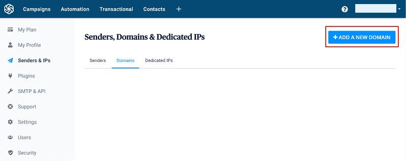 Add a new domain button on Sendinblue dashboard