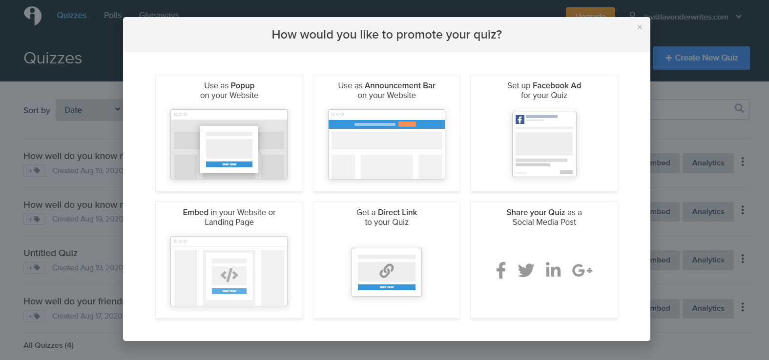Interact dashboard how to promote quiz