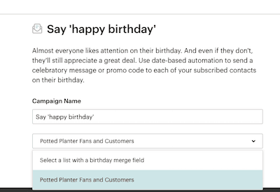 Mailchimp compleanno