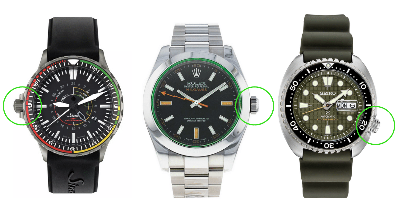 Photo of three watches showcasing three different positions of watch crowns