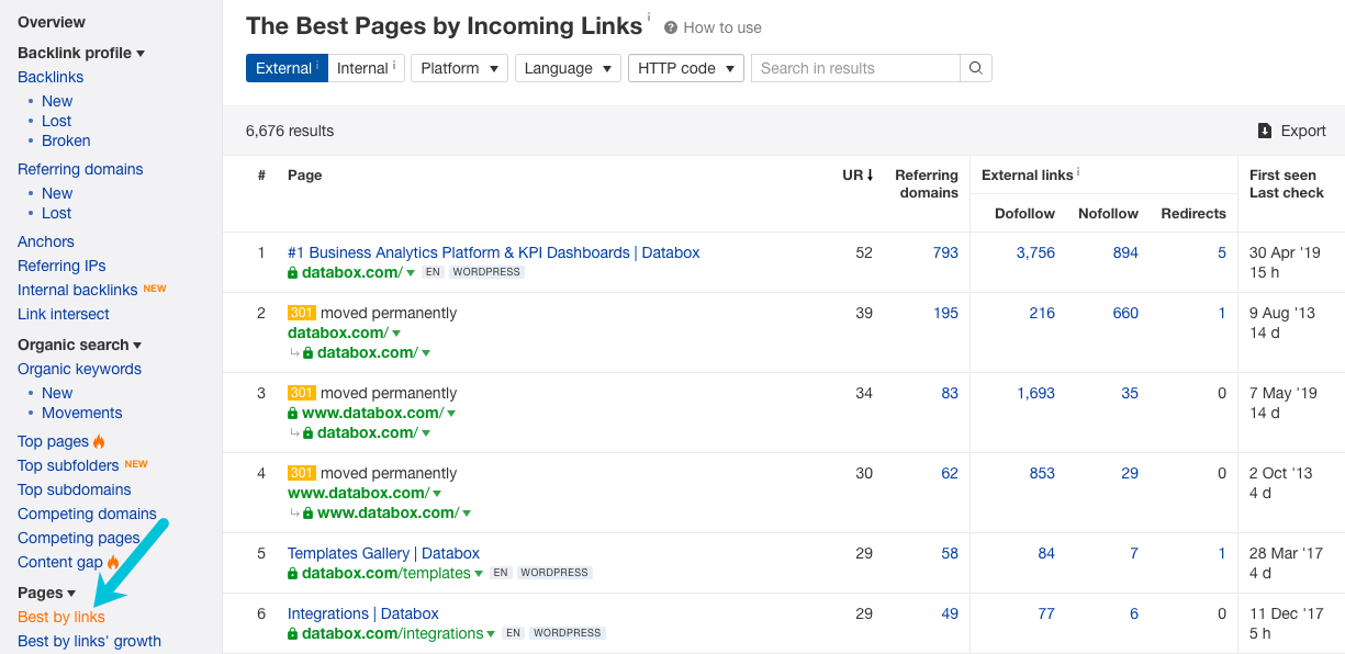 best pages by links ahrefs