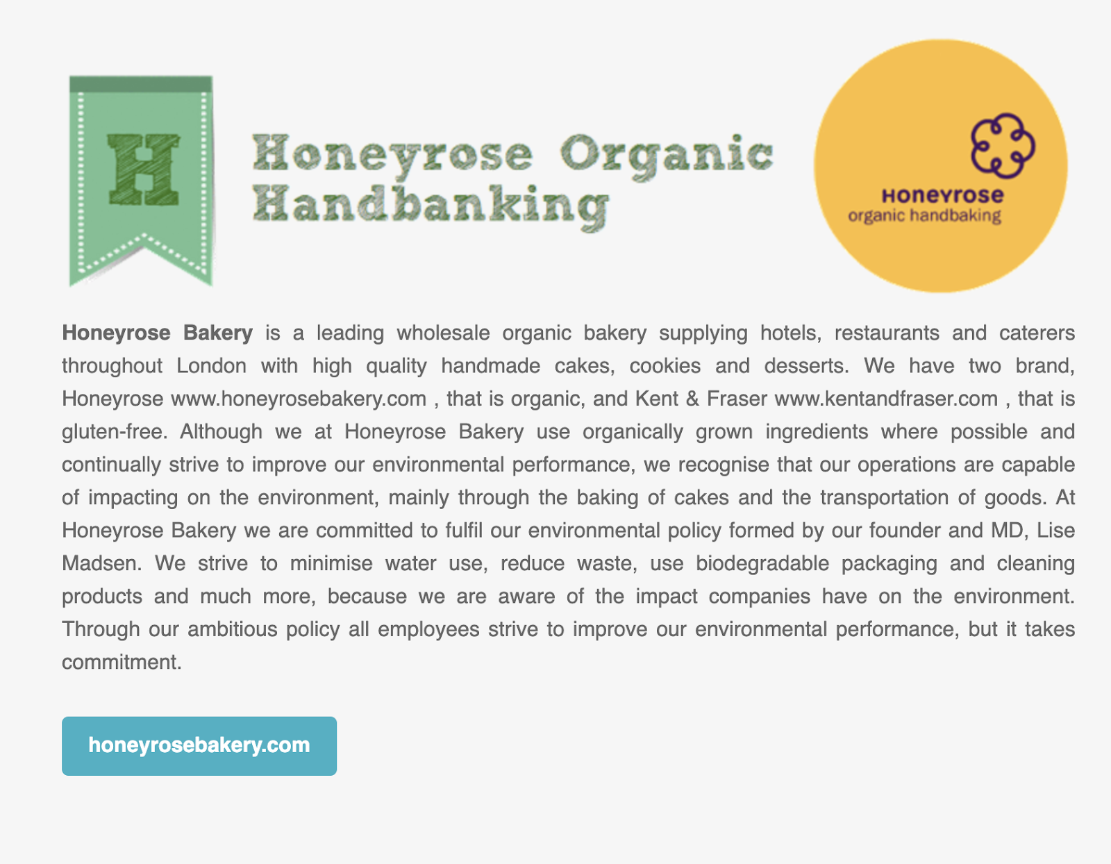 honeyrose organic handbaking